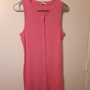 """Faded"" Pink Zara Snap Ribbed Dress"